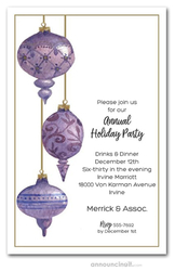 Purple Holiday Ornaments Party Invitations
