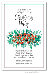 Berries and Green Holiday Swag Invitations