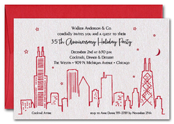 Red Chicago Skyline on Shimmery White Invitations