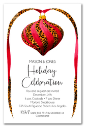 Red & Leopard Ornament Holiday Invitations