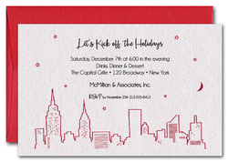 Red New York Skyline on Shimmery White Invitations