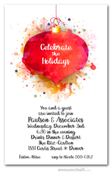 Red Ornaments & Snowflakes Holiday Party Invitations
