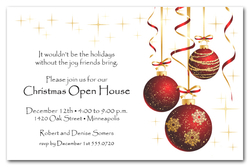 Red Ornaments and Gold Starlights Holiday Invitations