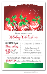 Red Swirl Ornaments & Holly Holiday Invitations