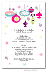 Retro Holiday Ornaments Party Invitations
