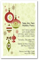 Retro-ish Christmas Ornaments Invitations