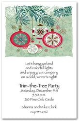 Sage & Red Ornaments Holiday Invitations