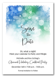 Snowflakes on Blue Holiday Save the Date