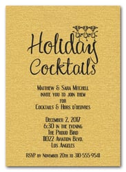 Reindeer on Shimmery Gold Holiday Cocktail Invitations