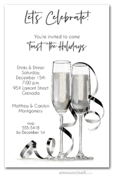 Noir Champagne & Streamers Holiday Invitations