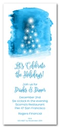 Snowflake Tree on Blue Holiday Invitations