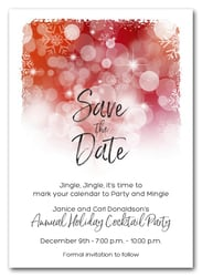 Snowflakes on Red Holiday Save the Date