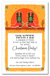 Southwest Christmas Cowboy Boots Invitations
