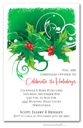 Sprigs of Holly Holiday Party Invitations