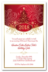 Swirled Red Christmas Tree Party Invitations