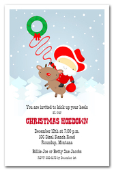 Western Santa & Reindeer Holiday Invitations