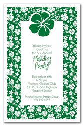 Aloha Hibiscus on Green Holiday Invitations