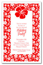 Aloha Hibiscus on Red Holiday Invitations