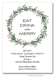 Red Berry Winter Wreath Holiday Invitations