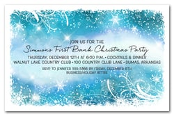 Snowflakes & Bokeh on Blue Holiday Invitations