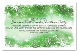 Snowflakes & Bokeh on Green Holiday Invitations