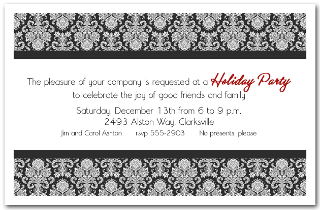 black white enchanting damask holiday invitations - Christmas Images Black And White