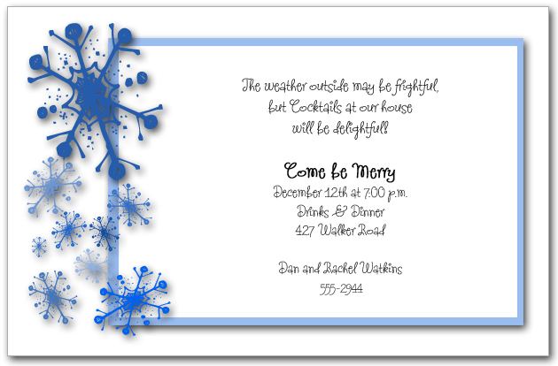 holiday snowflake invitations snow christmas invitations