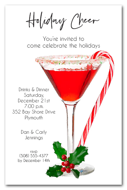 candy cane martini holiday party invitations - Christmas Cocktail Party