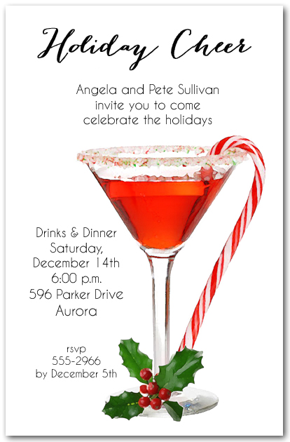 candy cane martini holiday invitations  christmas invitations