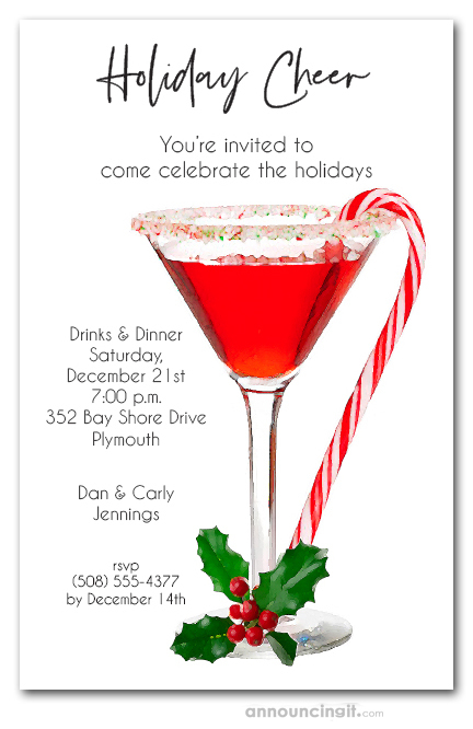 Christmas Cocktail Party Invitations.Candy Cane Martini Holiday Party Invitations
