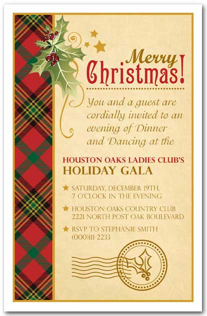 holly on plaid holiday party invitations  christmas invitation