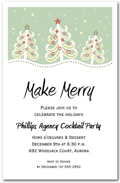 christmas trees on hill holiday invitation christmas invitations