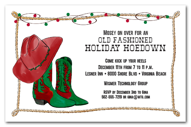 Cowboy Christmas Boots And Rope Invitations