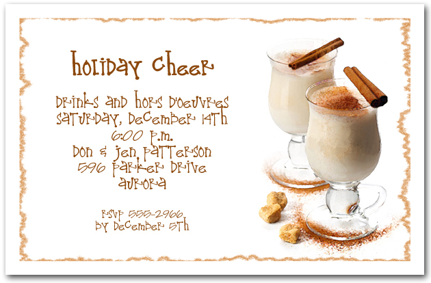 Egg Nog Holiday Party Invitations