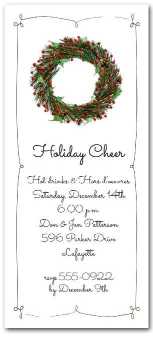 Evergreen Wreath Holiday Invitation Christmas Party