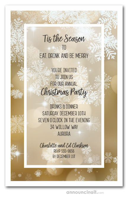 Christmas Invitation Background Gold.Falling Snow On Gold Holiday Invitations