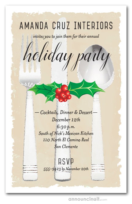 Holiday Christmas Dinner Party Invitations