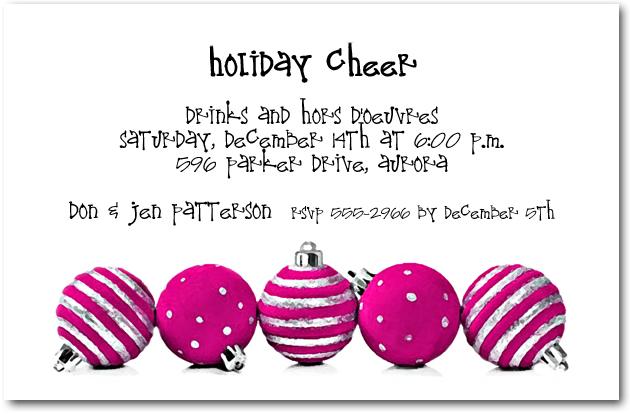 Pink Christmas Ornaments.Silver Hot Pink Ornaments Holiday Invitations
