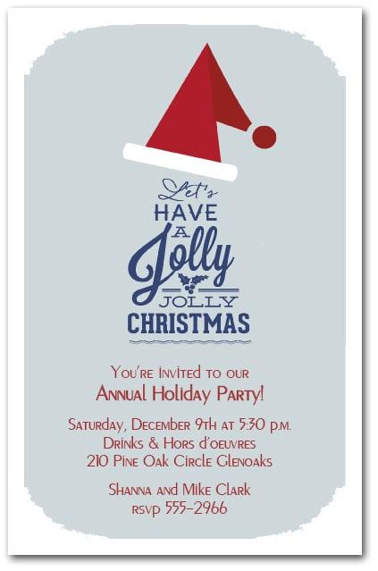 jolly jolly santa hat christmas invitations  holiday invitations