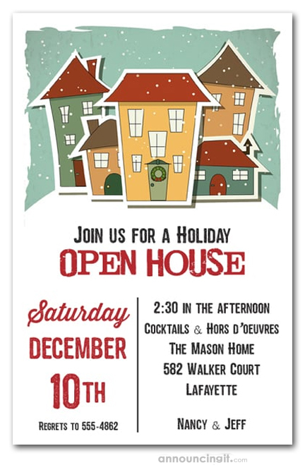 home for the holidays christmas party invitations