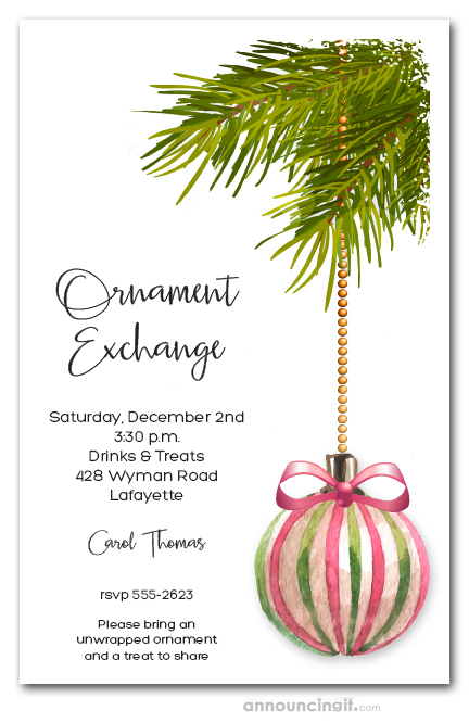Pink Green Ornament Holiday Invitations