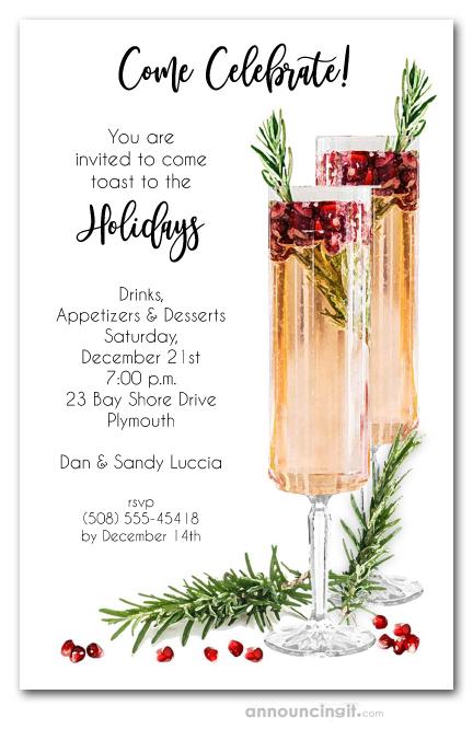 Christmas Cocktail Party Invitations.Pomegranate Rosemary Spritzer Holiday Invitations