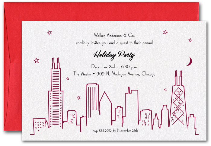 red chicago skyline party invitations