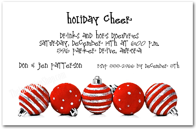 Silver  Red Ornaments Holiday Invitations Christmas Invitations