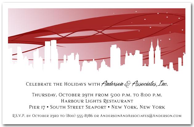 Ruby City Skyline Invitations Holiday Party Invitations