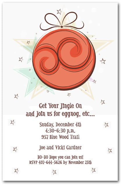 red christmas tree ornaments and stars holiday party invitations