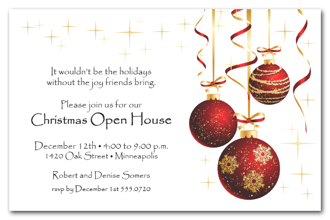 red ornaments and gold starlights christmas holiday party invitations