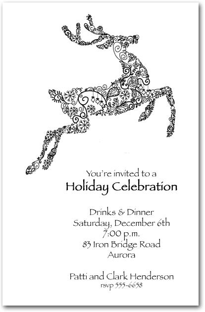 Reindeer Doodle Holiday Invitation, Christmas Invitations