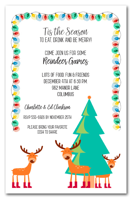 Reindeer And Christmas Tree Holiday Party Invitations