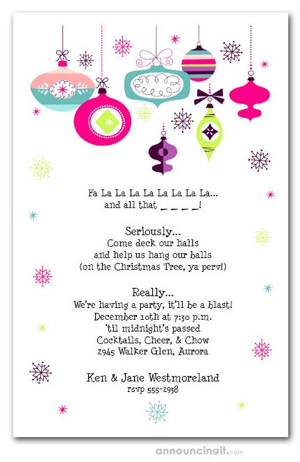Retro Holiday Ornaments Christmas Party Invitations